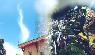 ก้อนเมฆคล้ายรูปพญานาคปรากฏ พิธีกวนข้าวทิพย์วัดถาวรชัยศิริ ชาวบ้านเชื่อ..เป็นอภินิหารขององค์พญานาค!