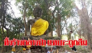 ตะลึง! พบพระพุทธรูปโบราณถูกทิ้งร้าง แทบถูกลืมตั้งตระหง่านกลางป่าในทุ่งนา