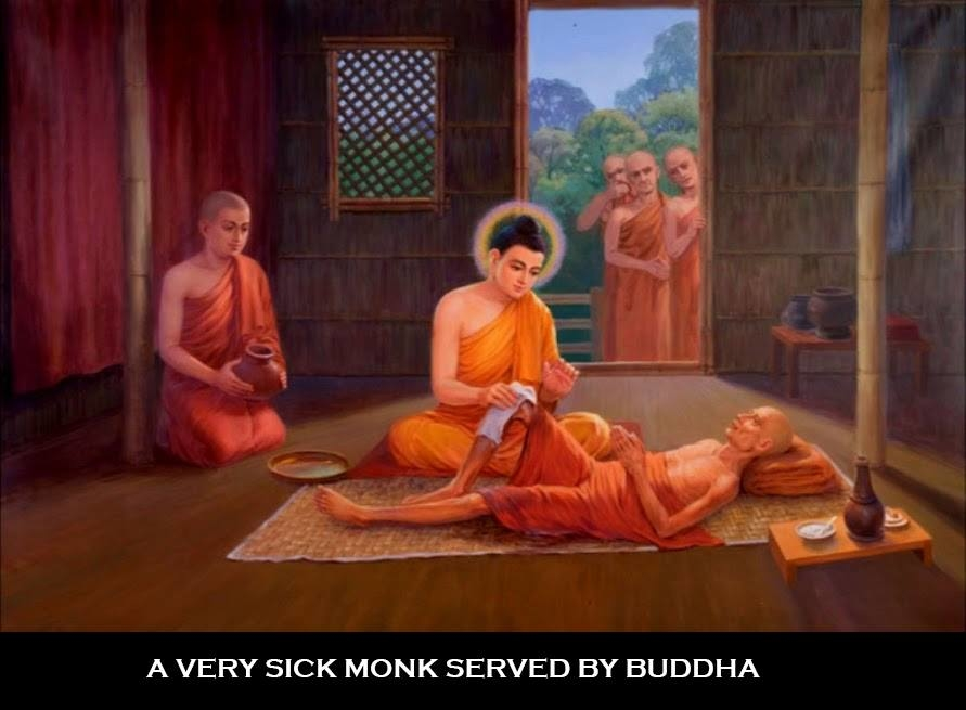 Buddha take care very sick monk