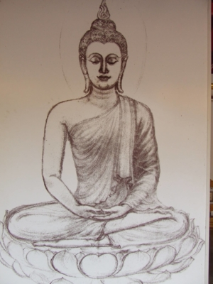 Drawing line Buddha