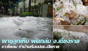 พื้นขาวโพลน! พายุลูกเห็บถล่มเชียงราย ผู้ว่าฯสั่งสำรวจความเสียหายพร้อมช่วยเหลือ