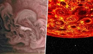 พายุหมุนไซโคลนที่ขั้วเหนือและใต้บนดาวพฤหัสบดี