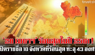 28 เมษาฯ ร้อนสุดในรอบปี ดวงอาทิตย์ตั้งฉากกับประเทศไทย อุณหภูมิทะลุ 43 องศา!! (รายชื่อจังหวัด)