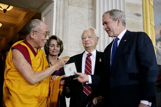 Bush, Byrd and Pelosi awarding the Dalai Lama