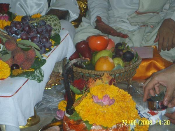 Shiva-lingam puja ดอกไม้บังอยู่