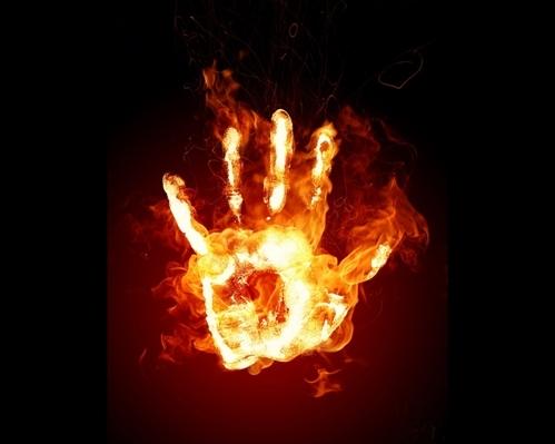 Palm Hand Burnt Fire Wallpaper 1