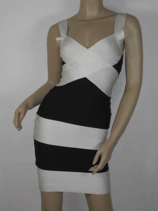 Herve Leger Crossed Bandage Dress Black and White