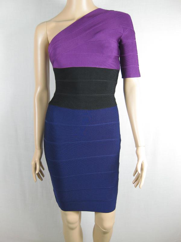2011 Herve Leger One-Shoulder Colorblock Bandage Dress Purple