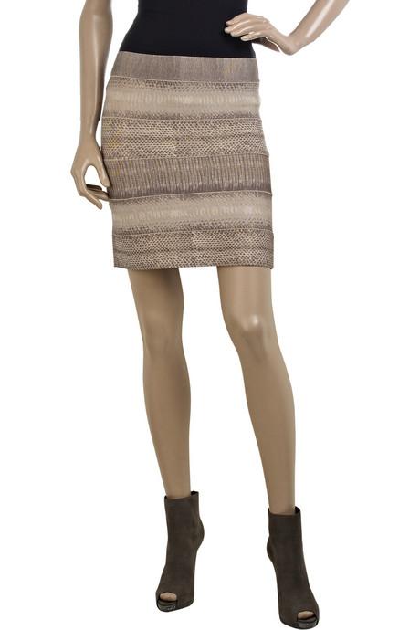 Herve Leger Bandage Skirt Snake-Skin Pattern
