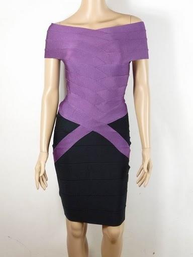 herve leger bandage dress purple black h064