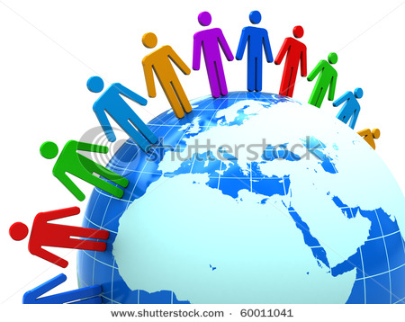 stock photo abstract d illustration of colorful people around earth globe 60011041