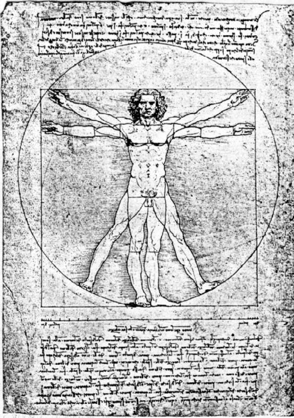Leonardo DaVinci Artist, Scientist, Mystic =  Leonardo da Vinci's early 16th century illustration based on the natural proportions of the human body