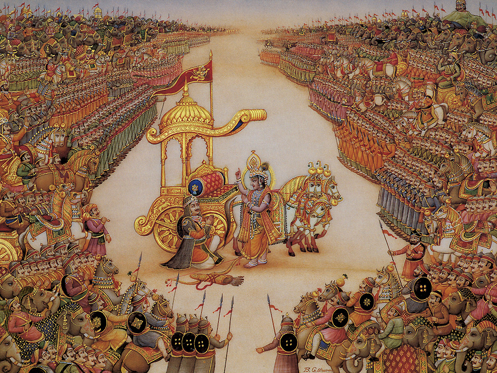 Mahabharata - Krishna instructs Arjuna