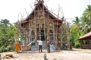 งานก่อสร้างโบสถ์วัดโพธิ์ชัย