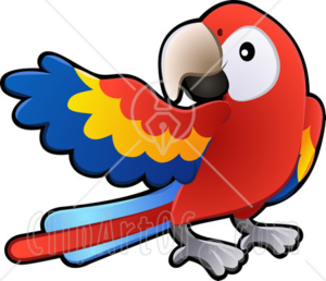 16301 Red Yellow And Blue Scarlet Macaw Parrot Bird Ara Macao With A White Circle Around Its Eye Clipart Illustration Image