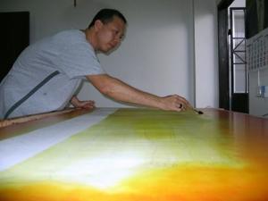 ขั้นตอนการเขียนภาพ ลำดับที่ 1 ร่างภาพแล้วลงสีรองพื้น