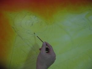 ขั้นตอนการเขียนภาพ ลำดับที่ 3 เก็บรายละเอียดลงสีรองพื้น ส่วนองค์พระพุทธรูป