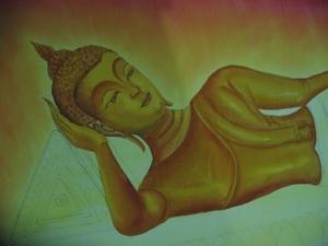 ขั้นตอนการเขียนภาพ ลำดับที่ 4 ลงสี ส่วนองค์พระพุทธรูป