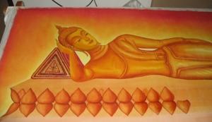 ขั้นตอนการเขียนภาพ ลำดับที่ 5 ลงสี ส่วนองค์พระพุทธรูป และเก็บรายละเอียด