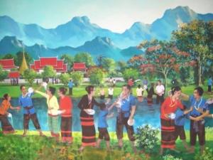 ภาพวาดวัฒนธรรมท้องถิ่นบนฝาผนัง วัดพระนอน จ.แพร่ 4