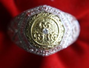แหวนเงินหน้าทองคำฝังเพชร หลวงปู่ชื้น ปี 34