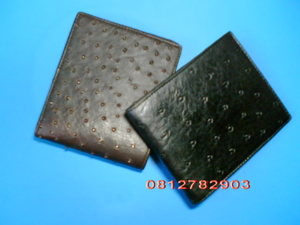 กระเป๋าหนังนกกระจอกเทศ สีดำ/น้ำตาล