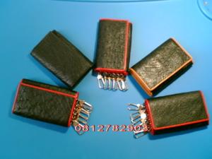 กระเป๋าหนังนกกระจอกเทศ สีดำ ใส่เงิน/พวงกุญแจ