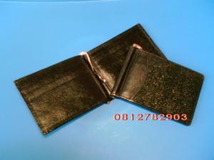 กระเป๋าหนังปลากระเบน Money Clip (หนีบธนบัตร) สีดำ ใส่เงิน/นามบัตร/บัตรเครดิต