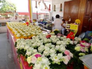 เหล่าดอกไม้ที่เตรียมให้ญาติธรรมบูชา