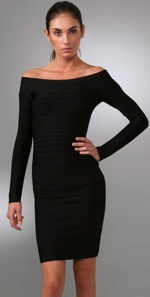 Herve Leger  Long sleeve Strapless Dress black