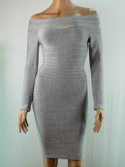 Herve Leger  Long sleeve Strapless Dress gray