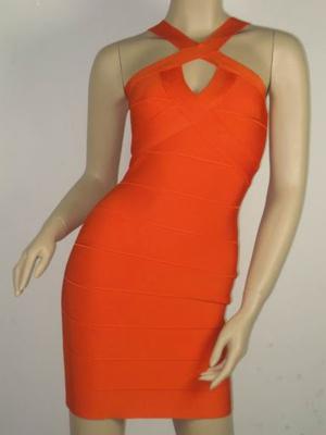 Herve Leger Cross Neck Bandage Dress Orange Bright