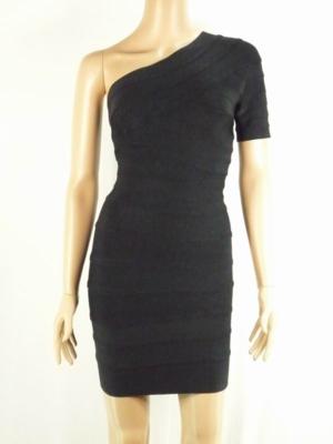 2011 Herve Leger Black One-Shoulder Bandage Dress