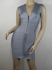 Herve Leger Bandage Zip Dress Gray H062