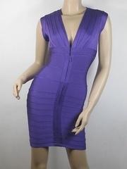 Herve Leger Bandage Zip Dress PurpleH062