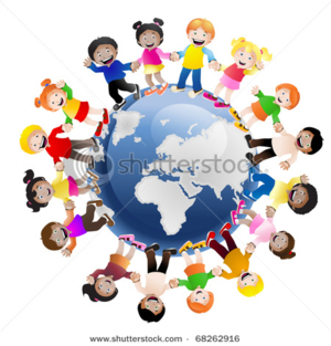 stock photo illustration of cultural children holding hands surrounding the globe symbolizing world unity and 68262916