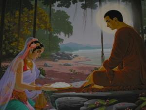 Receiving Alms from Sujata นางสุชาดาถวายข้าวปายาส