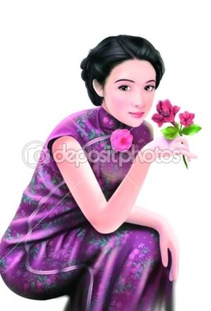 dep 5026494 Hand drawing   chinese woman 053