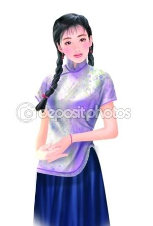 dep 5026525 Hand drawing   chinese woman 050