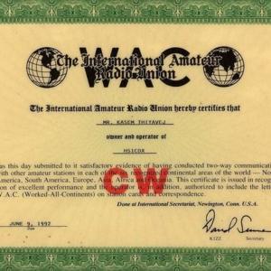 WAC  (Work All Continent)  เป็นรางวัลสำหรับการติดต่อด้วย รหัสมอร์ส(CW) ได้ครบทั้ง  6 ทวีป NA  SA  EU  AS AF and  Oceannia เป็นรางวัลแรกของประเทศไทย(ถ