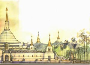 ภาพทัศนียภาพด้านข้าง ของ พระบรมธาตุเจดีย์ ศรีวนานุสรณ์ จ.ขอนแก่น