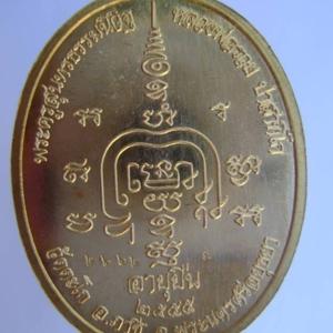 เหรียญอายุยืน พ.ศ. 2555 หลวงพ่อรวย วัดตะโก เนื้อสัตตะโลหะ บล็อคไหล่จุด
