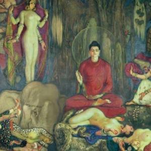 Las tentaciones de Buda (The temptation of Buddha) ภาพนี้เป็นจิตรกรรมที่วาดโดยจิตรกรชาวสเปนชื่อ Eduardo Chicharro ครับ  ชื่อภาพว่า Las tentaciones d