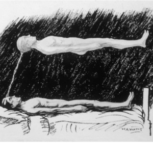 The out of body experience .The astral body lying in the air above the physical body