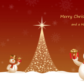 Merry Christmas And Heppy New Year 2014 Snow Man Wallpaper