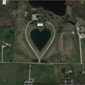 Lake in the shape of a heart,