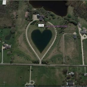 Lake in the shape of a heart, Ohio, USA