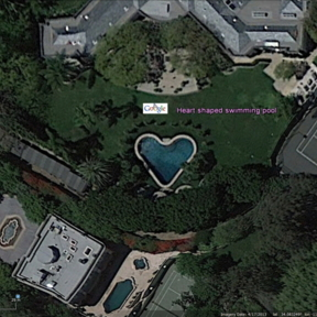 Heart shaped swimming pool, Los Angeles, USA