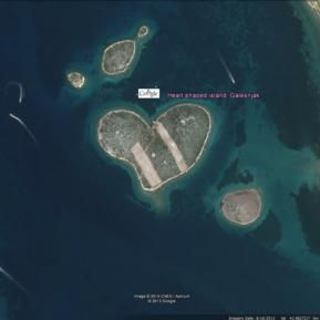 Heart shaped island, Galesnjak, Croatia