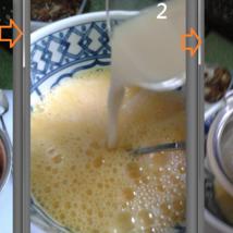 1.ไข่4ฟอง น้ำเต้าหู้1ถ้วย ตีไข่พอแตกใส่น้ำเต้าหู้ กรอง2-3รอบ